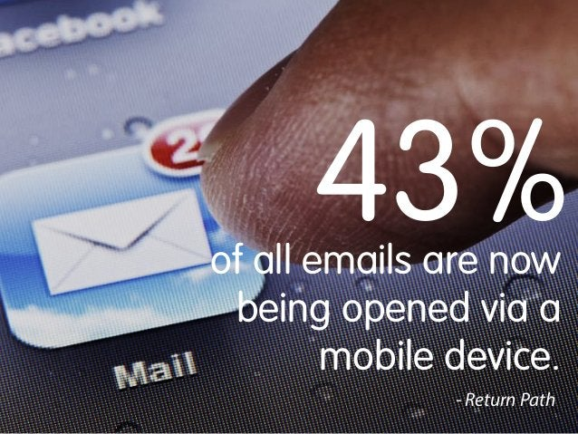43%  of all emails are now being opened via a mobile device. - Return Path