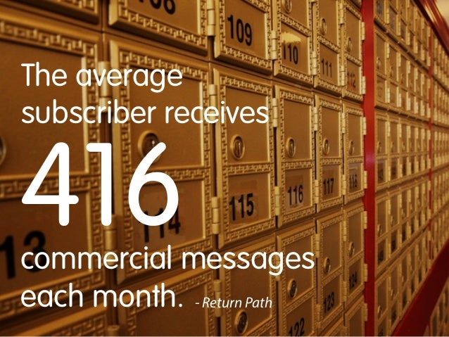 The average subscriber receives  416  commercial messages each month. - Return Path