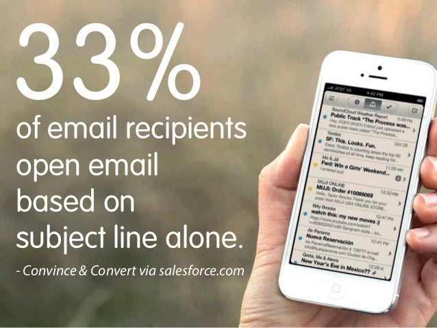 33%  of email recipients open email based on subject line alone.  - Convince & Convert via salesforce.com