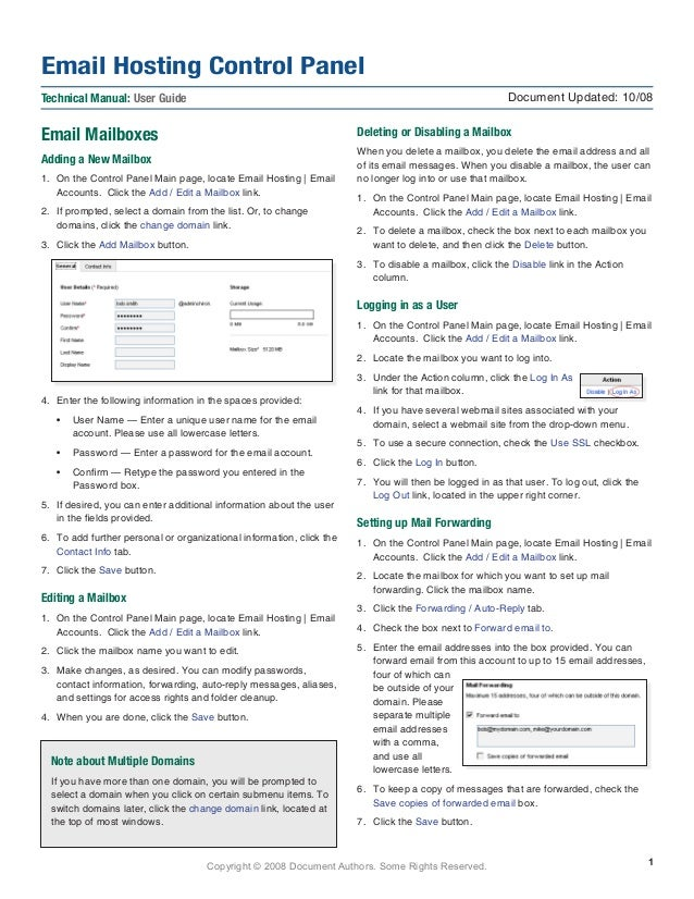 Copyright © 2008 Document Authors. Some Rights Reserved. Email Mailboxes Adding a New Mailbox 1.	 On the Control Panel Mai...