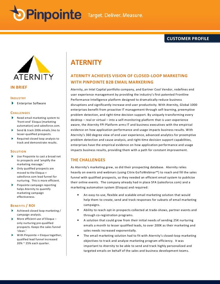 CUSTOMER PROFILE                                        ATERNITY                                        ATERNITY ACHIEVES ...