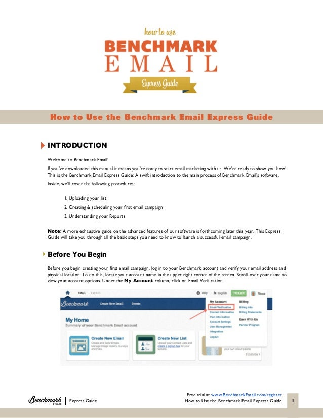 The Benchmark Email Express Guide Slide 2