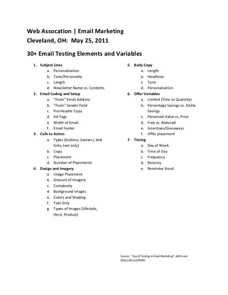 WebAssocation EmailMarketingCleveland,OH:May25,201130+EmailTestingElementsandVariables  1. SubjectLines...