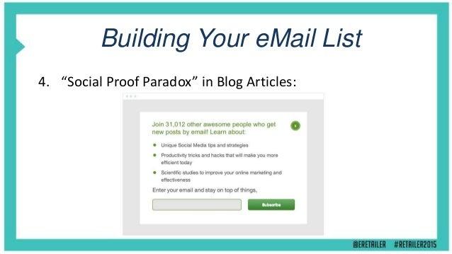 "Building Your eMail List 5. ""Single Option Aversion"" Content Pop-up's:"