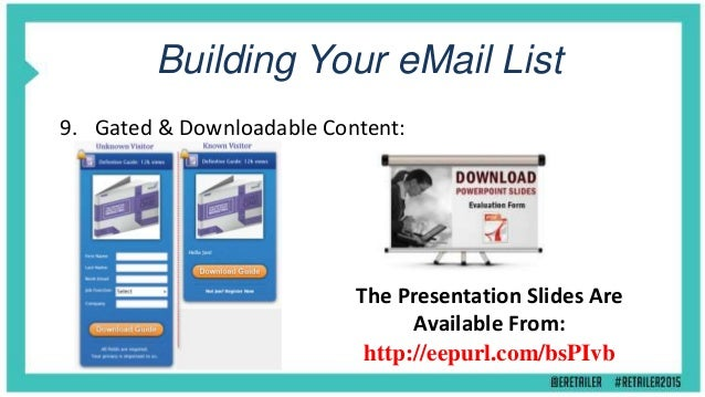 Keeping Your eMail List 10. Opt-Out Centre: