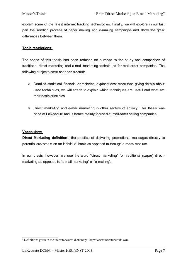 E marketing thesis
