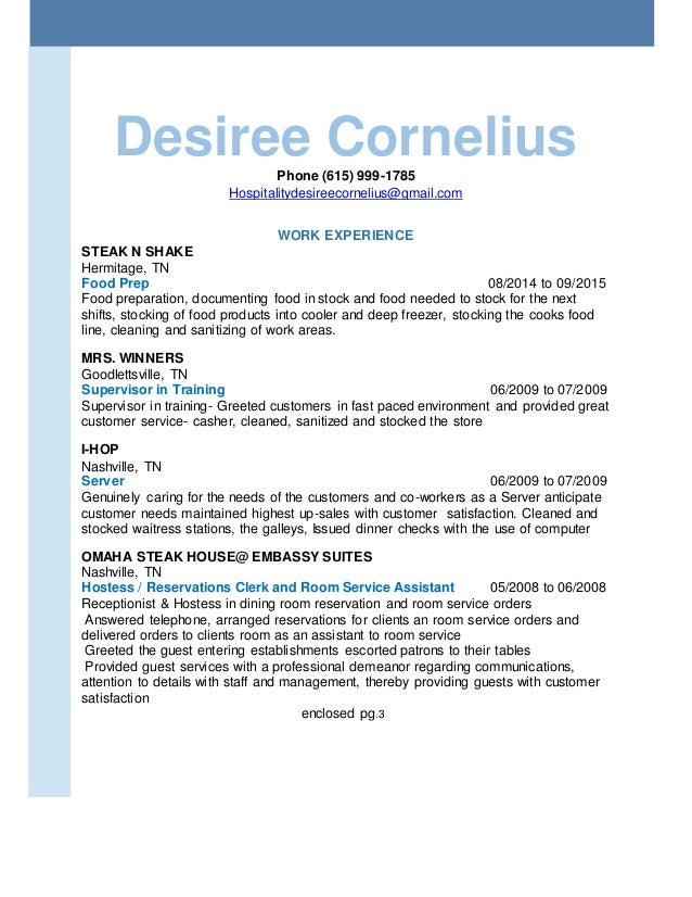 Sincerely, Desiree Cornelius; 2.  Email With Resume