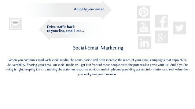 Social-EmailMarketing When you combine email with social media, the combination will both increase the reachof your email ...