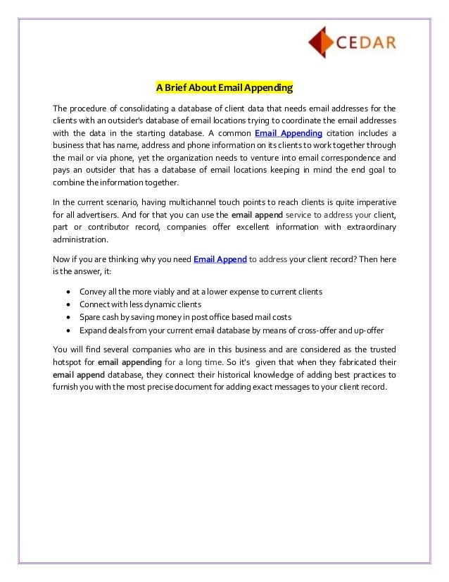 A Brief About Email Appending