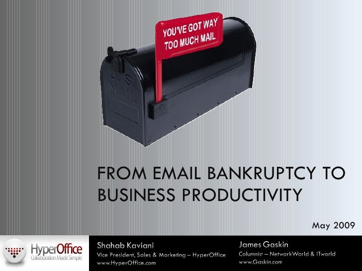 FROM EMAIL BANKRUPTCY TO BUSINESS PRODUCTIVITY May 2009