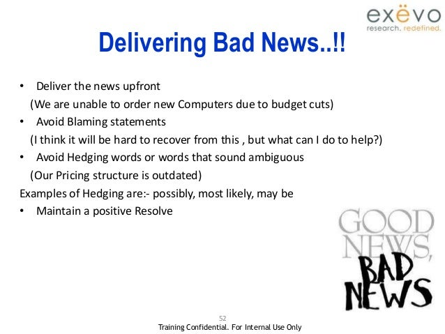how to break bad news to clients examples