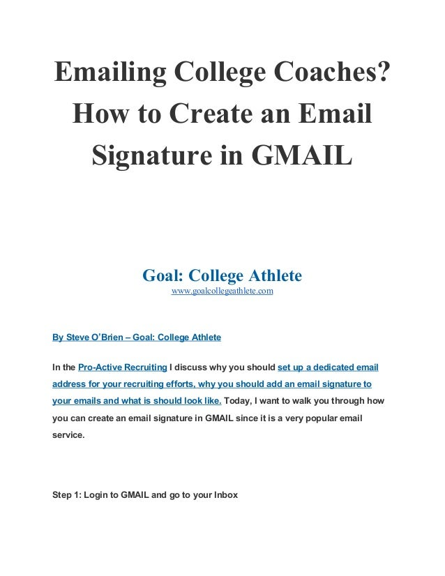 Emailing College Coaches? How to Create an Email Signature ... - photo#21