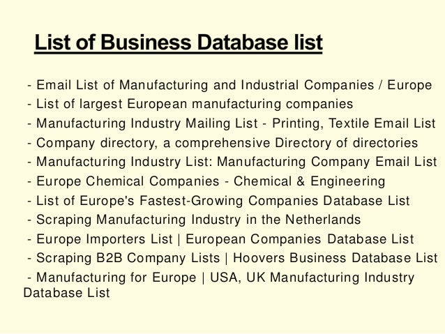 Manufacturing Companies Email Address