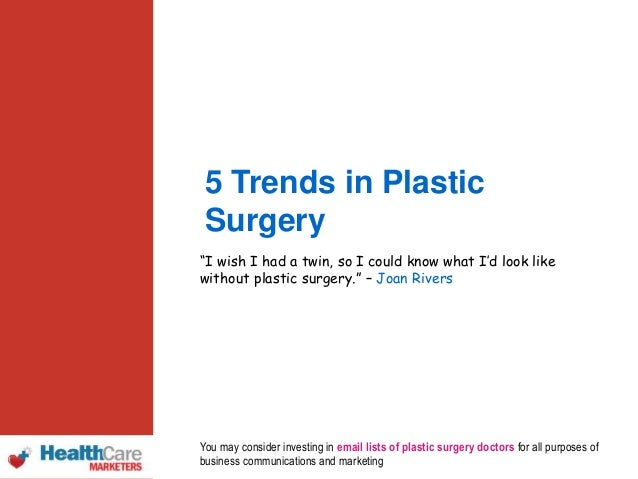 Trend in plastic surgery study