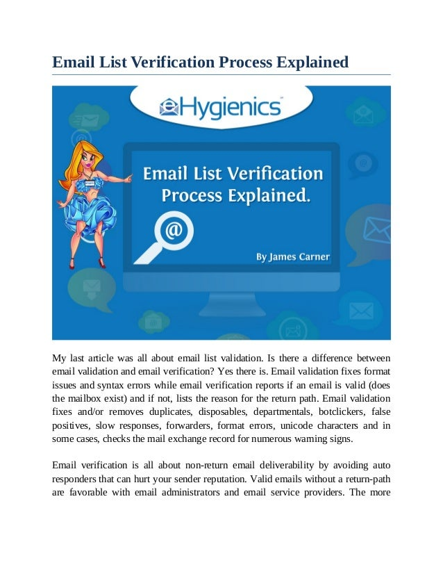 Email List Verification Process Explained My last article was all about email list validation. Is there a difference betwe...
