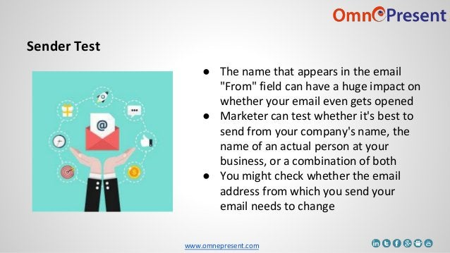 """www.omnepresent.com Sender Test ● The name that appears in the email """"From"""" field can have a huge impact on whether your e..."""