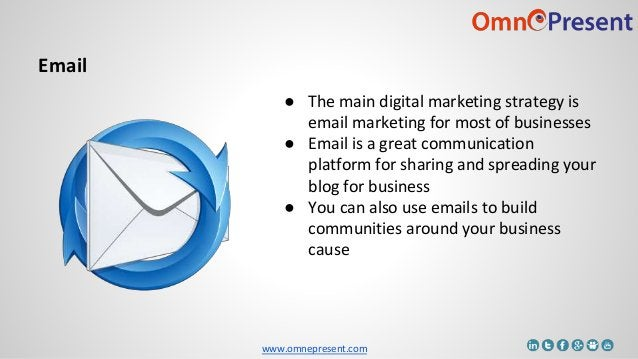 www.omnepresent.com ● The main digital marketing strategy is email marketing for most of businesses ● Email is a great com...