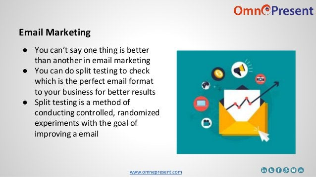 www.omnepresent.com Email Marketing ● You can't say one thing is better than another in email marketing ● You can do split...