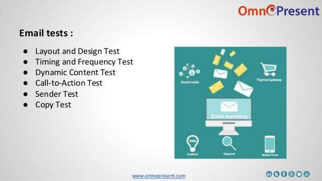www.omnepresent.com Email tests : ● Layout and Design Test ● Timing and Frequency Test ● Dynamic Content Test ● Call-to-Ac...
