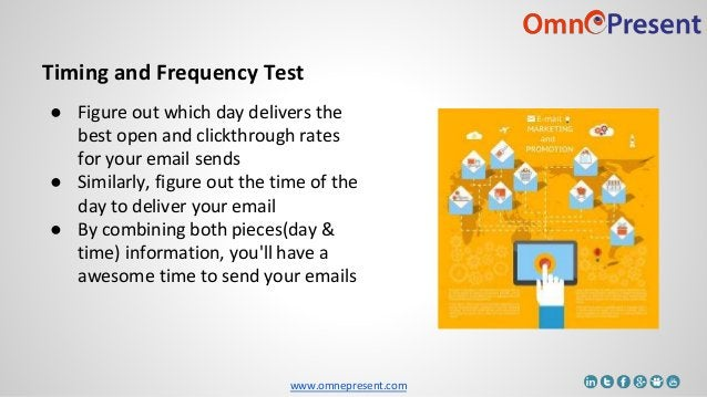 www.omnepresent.com Timing and Frequency Test ● Figure out which day delivers the best open and clickthrough rates for you...