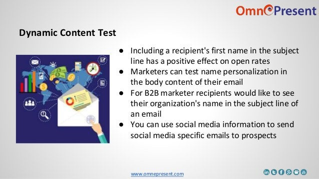 www.omnepresent.com Dynamic Content Test ● Including a recipient's first name in the subject line has a positive effect on...