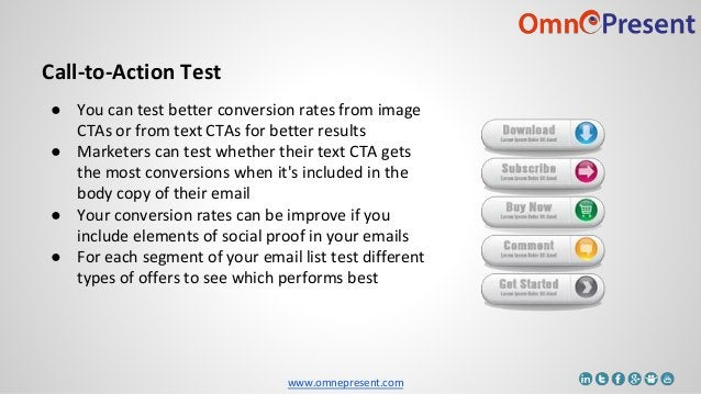 www.omnepresent.com Call-to-Action Test ● You can test better conversion rates from image CTAs or from text CTAs for bette...