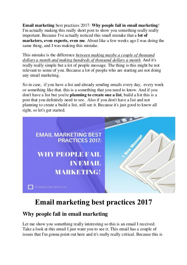 Email marketing best practices 2017: why people fail in email marketi…