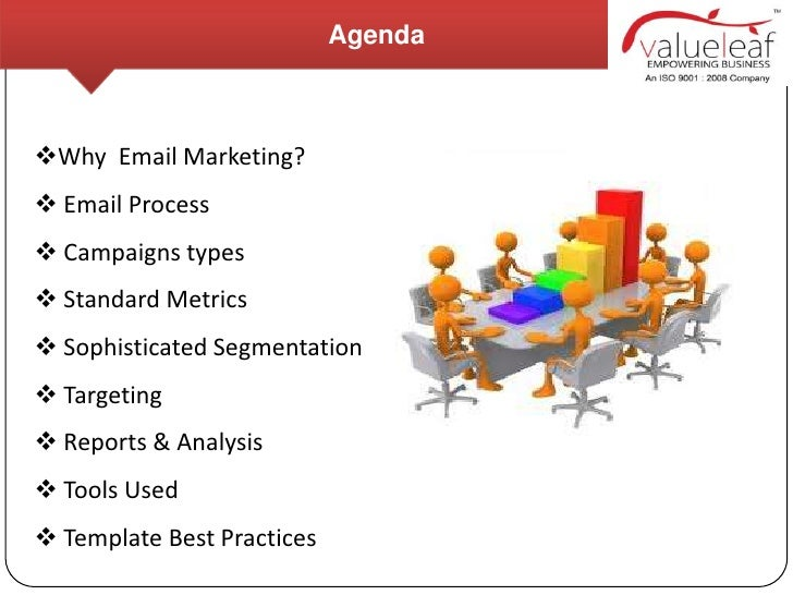 AgendaWhy Email Marketing? Email Process Campaigns types Standard Metrics Sophisticated Segmentation Targeting Repo...