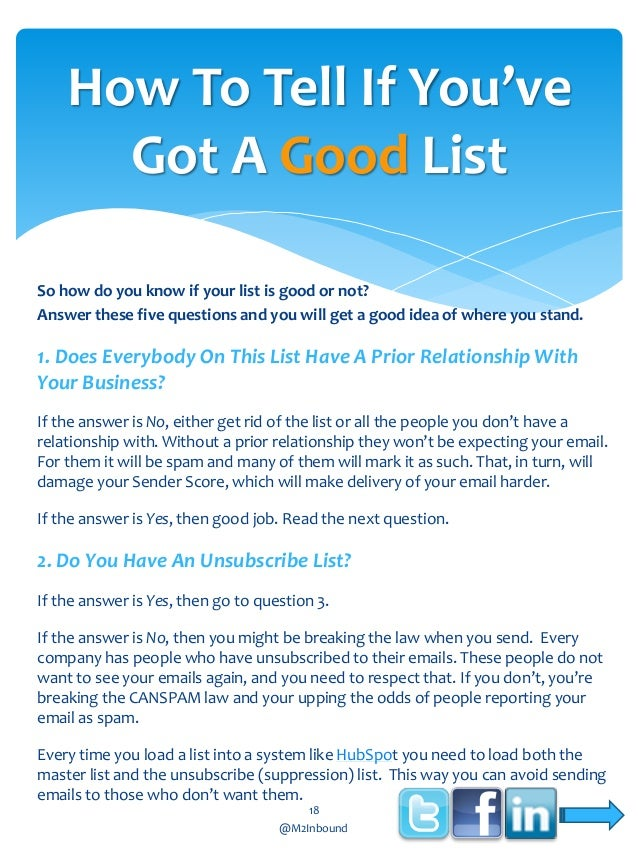 How To Tell If You've Got A Good List So how do you know if your list is good or not? Answer these five questions and you ...