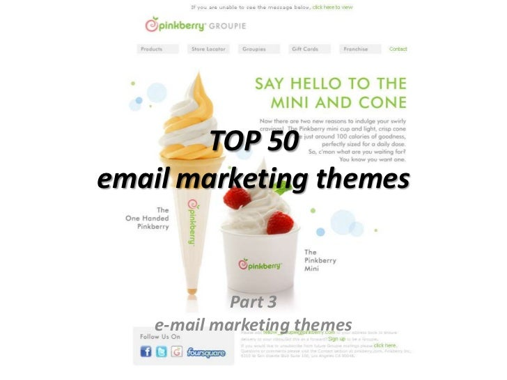 TOP 50 email marketing themes<br />Part 3<br />e-mail marketing themes<br />