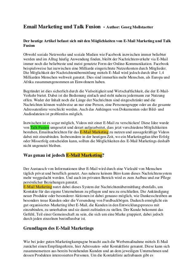Email Marketing und Talk Fusion - Author: Georg MollstaetterDer heutige Artikel befasst sich mit den Möglichkeiten von E-M...