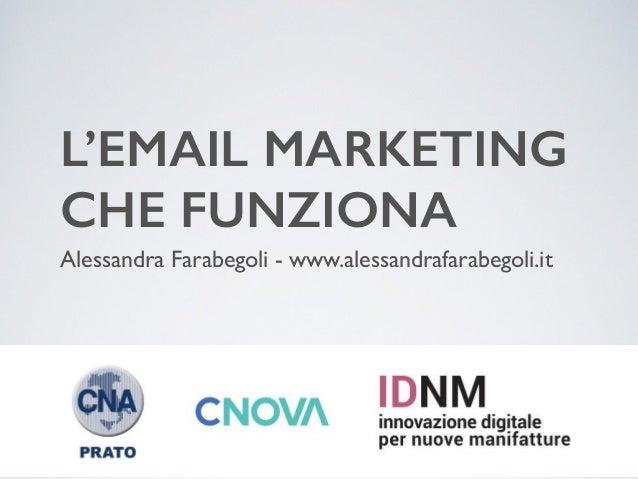 L'EMAIL MARKETING  CHE FUNZIONA Alessandra Farabegoli - www.alessandrafarabegoli.it