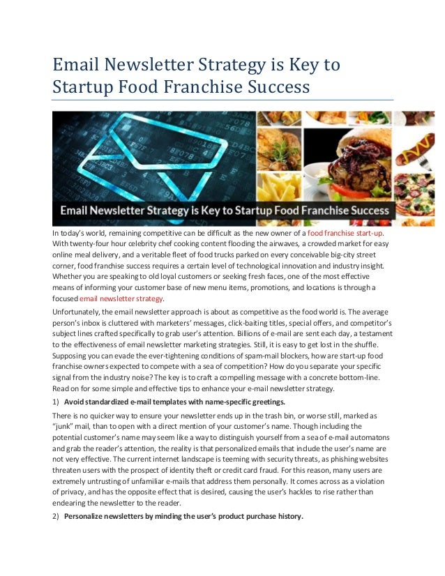 Email newsletter strategy is key to startup food franchise success