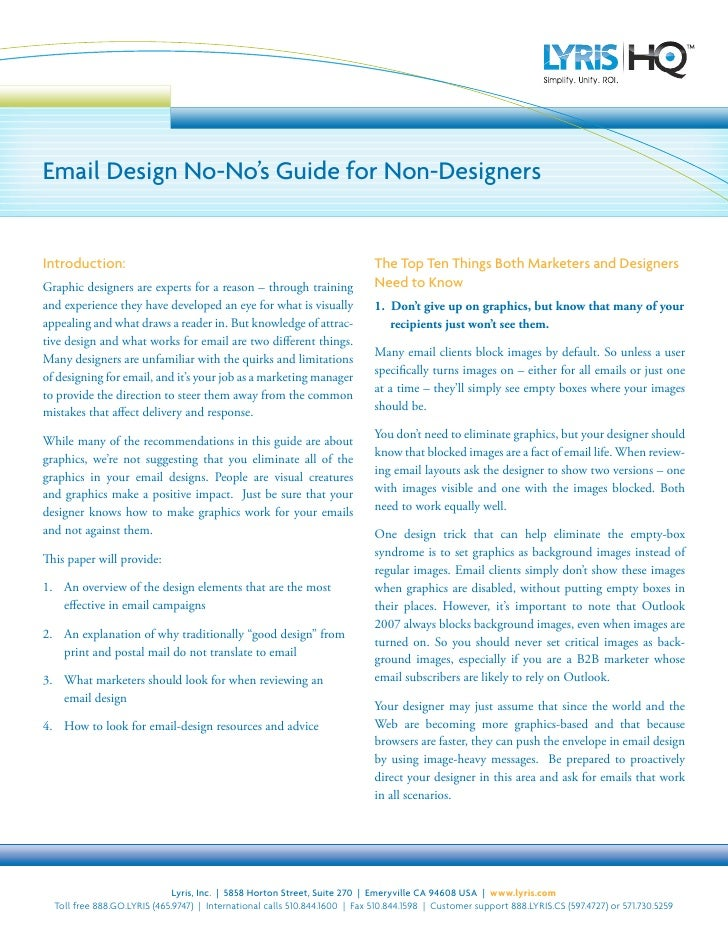 Email Design No-No's Guide for Non-Designers   Introduction:                                                              ...