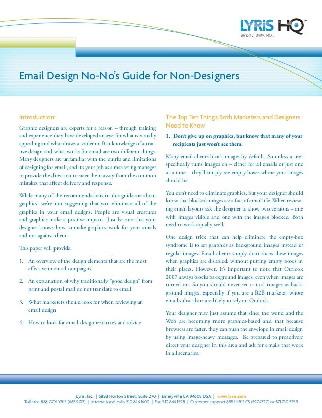 Email Design No-No's Guide for Non-Designers  Introduction: Graphic designers are experts for a reason – through training ...