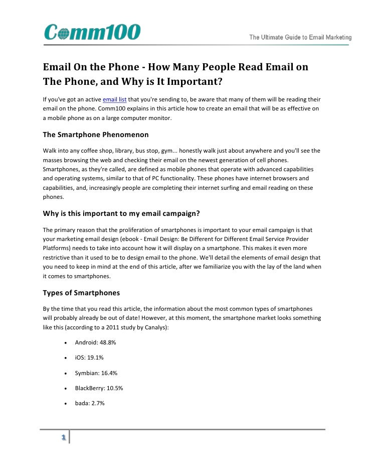 Email On the Phone - How Many People Read Email onThe Phone, and Why is It Important?If youve got an active email list tha...