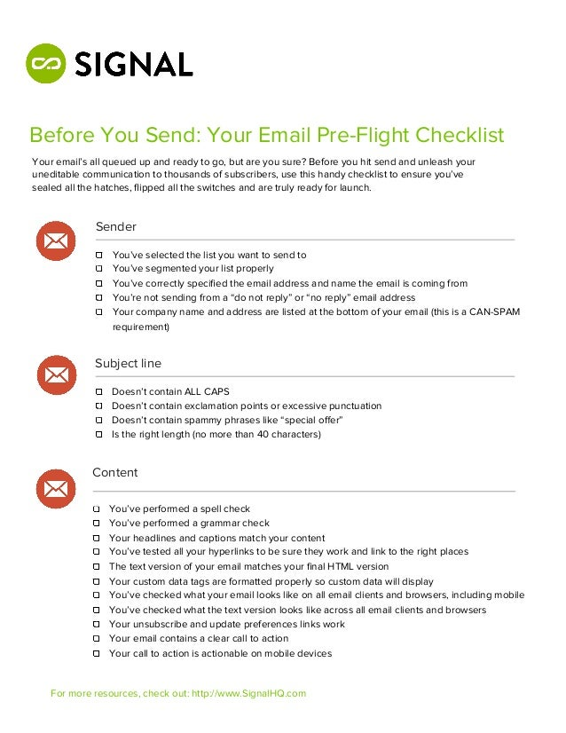 Before You Send: Your Email Pre-Flight ChecklistYour email's all queued up and ready to go, but are you sure? Before you h...