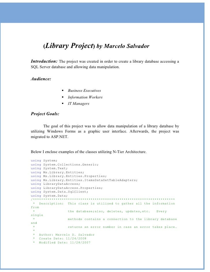 (Library         Project) by Marcelo Salvador Introduction: The project was created in order to create a library database ...