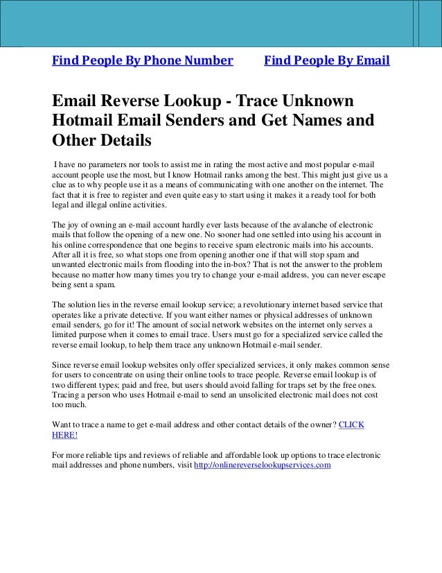 Find People By Phone Number Find People By Email Email Reverse Lookup - Trace Unknown Hotmail Email Senders and Get Names ...