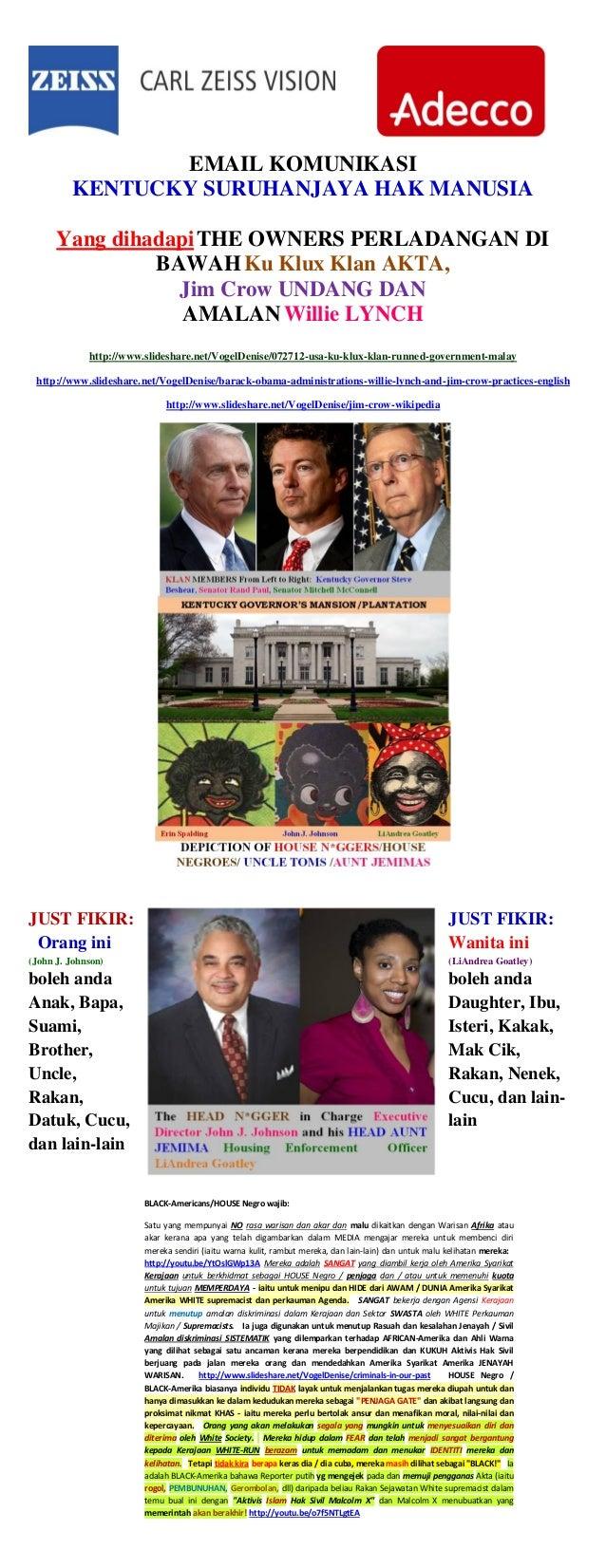 EMAIL KOMUNIKASI KENTUCKY SURUHANJAYA HAK MANUSIA Yang dihadapiTHE OWNERS PERLADANGAN DI BAWAHKu Klux Klan AKTA, Jim Crow ...
