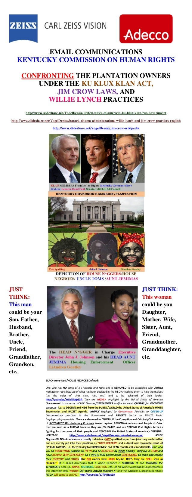 EMAIL COMMUNICATIONS KENTUCKY COMMISSION ON HUMAN RIGHTS CONFRONTING THE PLANTATION OWNERS UNDER THE KU KLUX KLAN ACT, JIM...