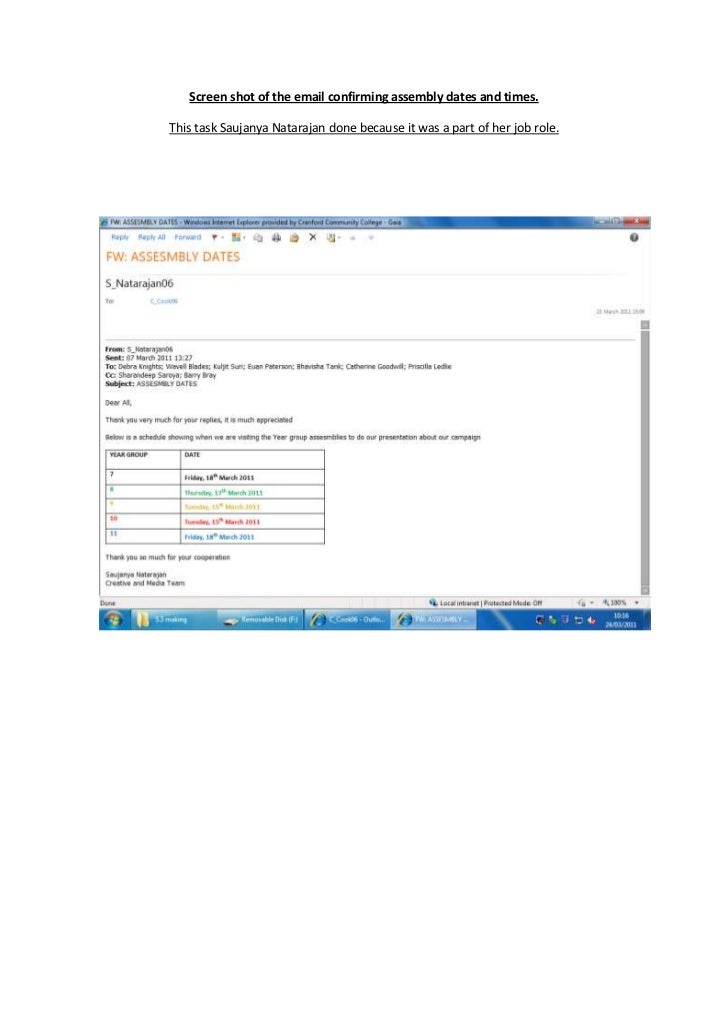 Screen shot of the email confirming assembly dates and times.<br />114300101028500This task Saujanya Natarajan done becaus...
