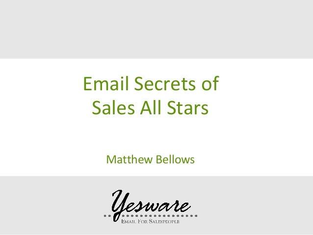 Email Secrets of Sales All Stars Matthew Bellows