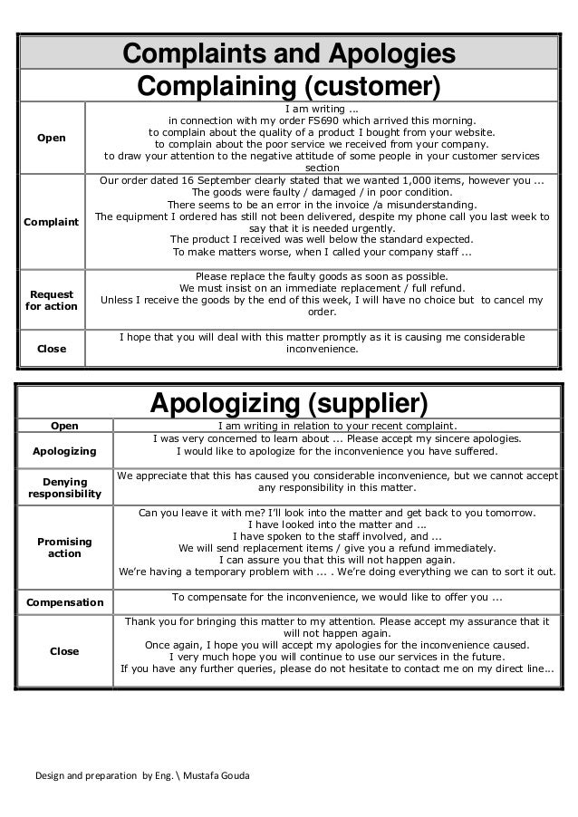 Design and preparation by Eng.  Mustafa Gouda Complaints and Apologies Complaining (customer) Open I am writing ... in con...