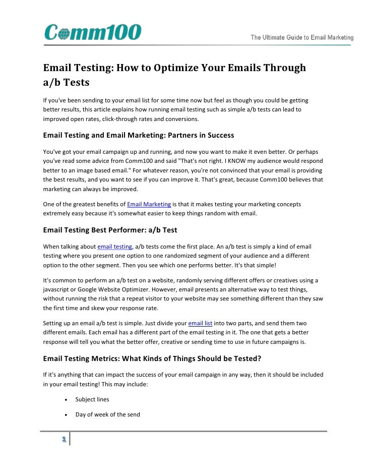 Email Testing: How to Optimize Your Emails Througha/b TestsIf youve been sending to your email list for some time now but ...