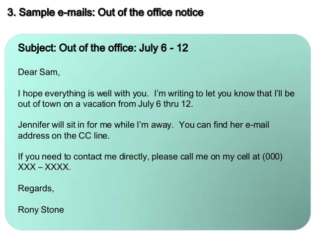 Mail Etiquette when Out of Office