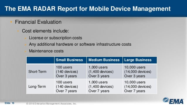 The EMA RADAR Report for Mobile Device Management • Financial Evaluation • Cost elements include:  License or subscriptio...