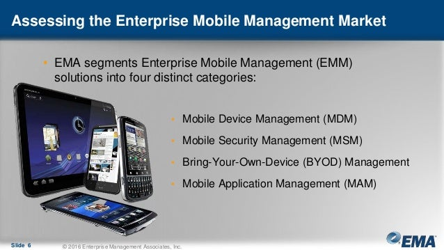 Assessing the Enterprise Mobile Management Market • EMA segments Enterprise Mobile Management (EMM) solutions into four di...