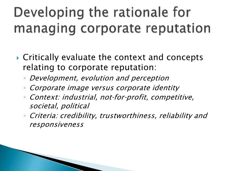 managing corporate reputation essay Crisis communications: managing corporate reputation in the court of public opinion  reputation or competency as severely as a crisis  as a vital part of their .