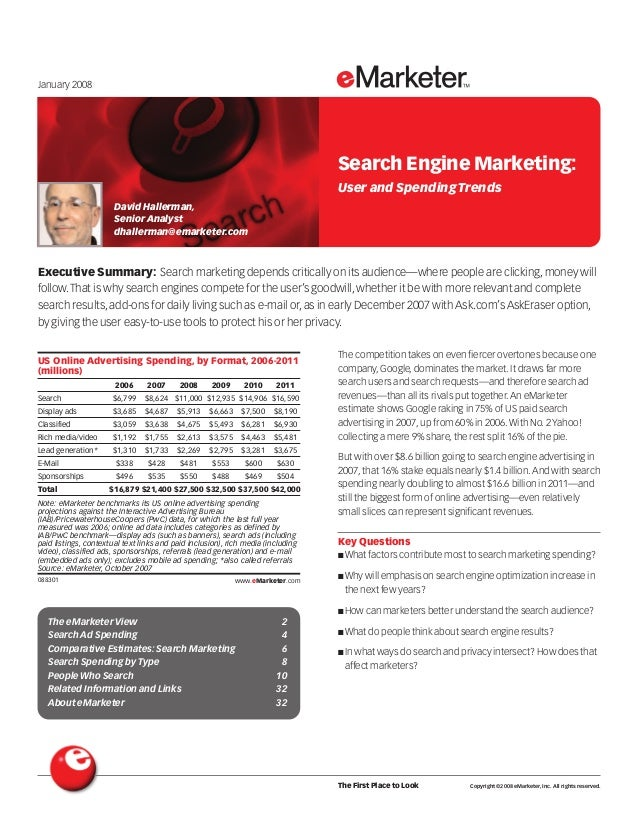 Executive Summary: Search marketing depends critically on its audience—where people are clicking,money will follow.That is...